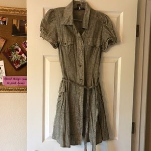 Marc Jacobs Button Up Mini Dress Taupe Size 8